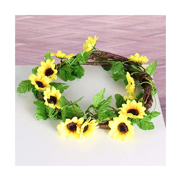 2 Pack 8.5 Feet Artificial Fake Sunflower Vines Garland Foliage Simulation Silk Vine Flowers with Green Leaves Wedding Home Party Garden Craft Art Decor