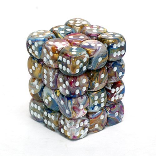 Chessex Dice d6 Sets: Festive Carousel with White - 12mm Six Sided Die (36) Block of Dice (36 Dice Set)