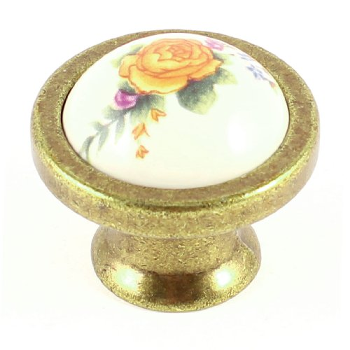 uxcell Bedroom Yellow Flower Pattern Ball Shape Ceramic Furniture Door Drawer Knob