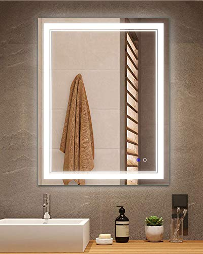 Keonjinn 24 x 32 Inch Anti-Fog Horizontal/Vertiacl Dimmable LED Bathroom Vanity Mirror -