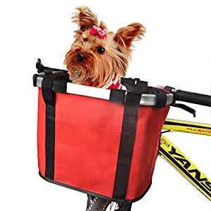 ANZOME Bike Basket, Folding Small Pet Cat Dog Carrier Front Removable Bicycle Handlebar Basket Quick Release Easy Install Detachable Cycling Bag Mountain Picnic Shopping Red
