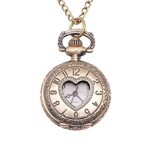 81stgeneration Women's Brass Vintage Style Love Heart Pocket Watch Chain Pendant Necklace, 78 cm - Watch Necklace Vintage