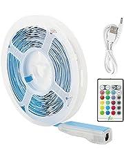 LED Stripverlichtingsset   RGB Gekleurde Lichtstrip voor Touw   USB TV Achtergrondverlichting Muziek Knipperende Lampjes met Afstandsbediening voor Eetkamer, Slaapkamer, Celing, enz (5M)