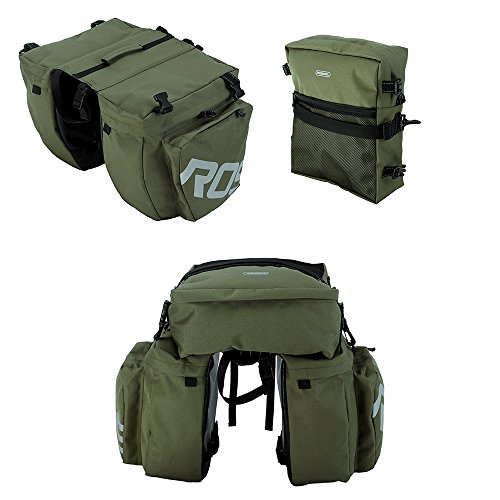Bike Panniers Waterproof Bag - 3 in 1 Multi Function Messenger Panniers for Bicycles, Bicycle Rear Seat Trunk Bag, Bicycle Saddle Bag for Mountain Cycling by COCO (Army Green) by COCO (Image #4)