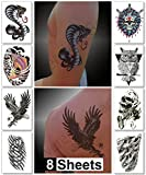Temporary Tattoos for Guys for Men - Fake Tattoo, Biker Tattoos, Rocker Stickers for Arms Shoulders Chest & Back - Boys Tattoos Body Art Tattoo Sticker Waterproof Large Transfers 8 Sheets (Jupiter)