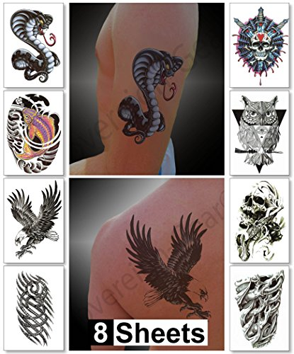 Temporary Tattoos for Guys for Men - Fake Tattoo, Biker Tattoos, Rocker Stickers for Arms Shoulders Chest & Back - Boys Tattoos Body Art Tattoo Sticker Waterproof Large Transfers 8 Sheets (Jupiter) (Flame Tattoo)