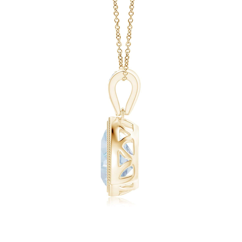 Bezel-Set Trillion Aquamarine Pendant with Milgrain 7mm Aquamarine