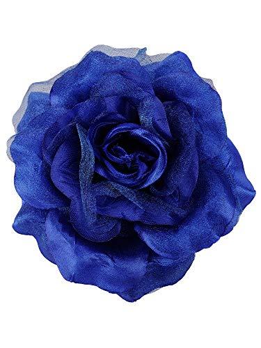 Women's Multifunction Rose Flower Sheer Petal Brooch Pin Hair Tie Clip, Royal Blue
