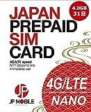 プリペイドSIM 4GB 31日 JP Mobile プリペイドSIMカード 日本国内データ通信専用 docomo回線 SIMアダプターとSIMピン付き 設定直後から利用可 低速使い放題 データリチャージ可 利用期限延長可 Prepaid SIM card / 4.0GB High Speed Mobile Data / 31 Days Usage Period / Data-only SIM for usage within Japan / Reliable docomo LTE Mobile Network / Immediate Use after Setup / SIM Adapter and SIM Pin Included / Unlimited Usage at Low Speed Data / Rechargeable / Usage Period Extension Possible