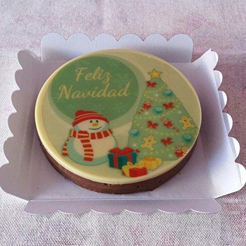 Turrón de chocolate clásico decorado - Muñeco de nieve (Caelé Repostería)