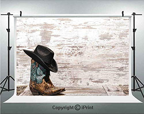 Western Photography Backdrops Traditional Rodeo Cowboy Hat and Cowgirl Boots in a Retro Grunge Background Art Photo,Birthday Party Background Customized Microfiber Photo Studio Props,8x8ft,Brown Black