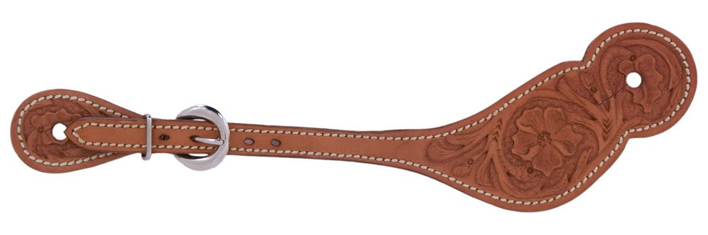 Metalab Leather Floral Western Spur Straps Tan