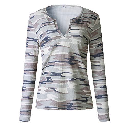 (Limsea Women Camouflage Print V Neck Long Sleeve Pullover Blouse Tops Sweatshirt)