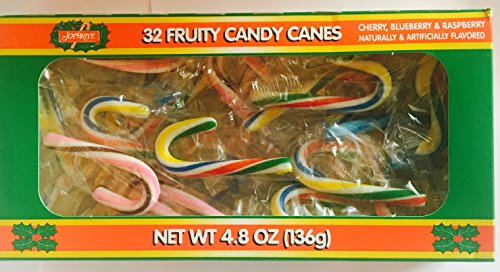 Joy-Brite 32 Mini Fruity Candy Canes 4.8 Oz Box