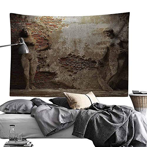 - Bedroom Tapestry Sculptures Decor Collection Antique Women Sculptures on Concrete Cement Wall Damaged History Interior Style Wall Hanging W80 x L60 Ivory Beige
