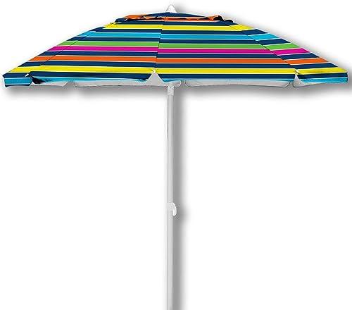 Caribbean Joe CJ-TUVC78RBST 6.5 Tilting Beach Umbrella, Stripe