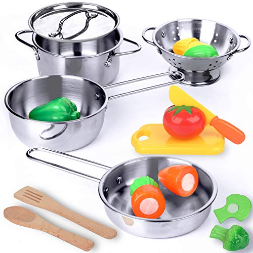 KRATO Kitchen Playset Pots and Pans Toys - Pretend Play Cookware for Kids Mini Stainless Steel Cooking Utensils Development for Toddlers & Children Boys Girls Ages 3 Years and up