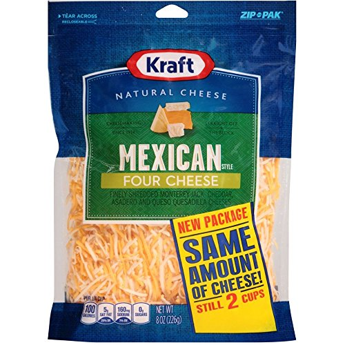 Kraft Finely Shredded Mexican Style Four Cheese, 8 Ounce -- 12 per case.