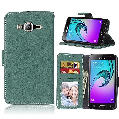 SRY Cartera de cuero de la PU superior con ranura para tarjeta / Soporte Flip Funda protectora de la caja para Samsung Galaxy J3 / J3 2016 ( Color : White ) Green