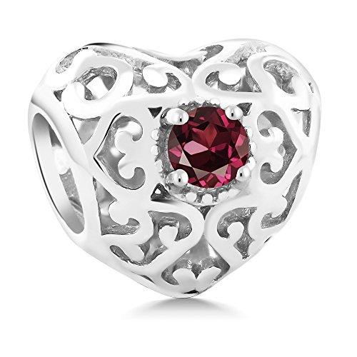 Gem Stone King 0.24 Ct Round Red Rhodolite Garnet 925 Sterling Silver Bracelet Bead Charm