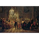 'Adolph Menzel Flotenkonzert Friedrichs des Grossen in Sanssouci ' oil painting, 30 x 44 inch / 76 x 111 cm ,printed on polyster Canvas ,this Reproductions Art Decorative Prints on Canvas is perfectly suitalbe for Basement decor and Home artwork and Gifts