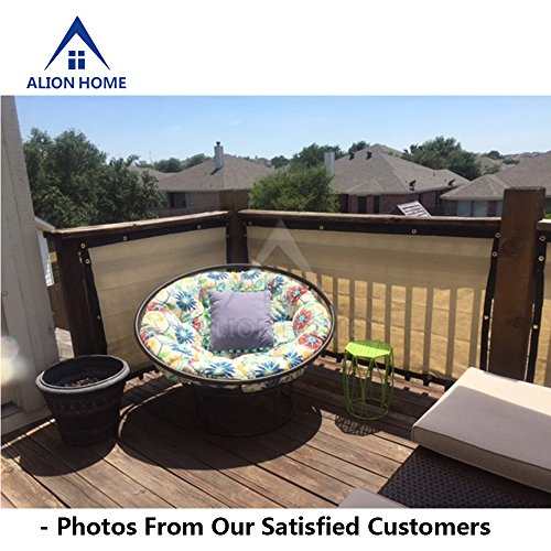 Alion Home HDPE Privacy Screen For Patio, Deck, Balcony, Backyard, Fence, Apartment Privacy - Black Trim - BEIGE(3'x 11') by Alion Home (Image #3)'