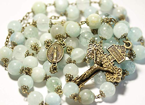 - Smooth Bead Aquamarine March Birthstone in Bronze Bead Rosary Made in Oklahoma with Pardon Crucifix