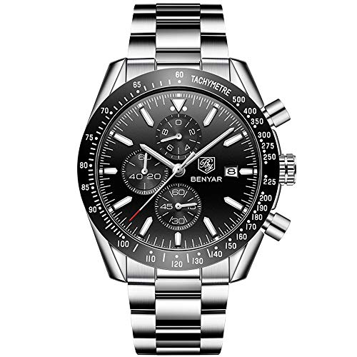 ZXYWW Mens Watches, Men's Quartz Watch with High Hardness Glass Dial Analogue Display and Black Strap for Back to School Gifts,Gray