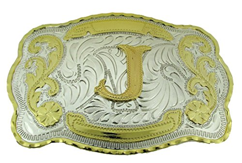 (Initial Belt Buckles Western Cowboy Texas us Style Men Rodeo Fashion Metal New (Initial Letter J))
