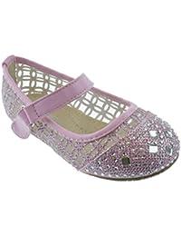 Cayla 04k Little Girls Rhinestone Mesh Ballet Ballerina Flats Pink