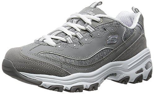 Skechers Sport Women's D'Lites Memory Foam Lace-up Sneaker,Grey/White,7 M US (Skechers Memory Foam Shoes Girls)