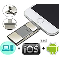 32GB Flash Drive U Disk - Thumb Drive with USB Mirco USB and Lightning(3 in 1)Connector Perfect for Small Memory iPhone, Pen Drive External Memory Stick for Apple IOS Android Computer-Silver
