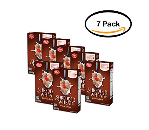 PACK OF 7 - Post Shredded Wheat Spoon Size Wheat'n Bran Cereal 18 oz. Box