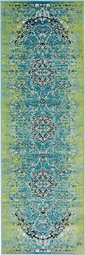 Luxury Modern Vintage Inspired Overdyed Area Rugs Blue 2' x 6' FT Artis Designer Rug Colorful Craft Rugs and - Rug Runner Craft