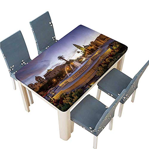 PINAFORE Fitted Polyester Tablecloth  san Diego s Balboa Park at Twilight in san Diego California Washable for Tablecloth W65 x L104 INCH (Elastic Edge)