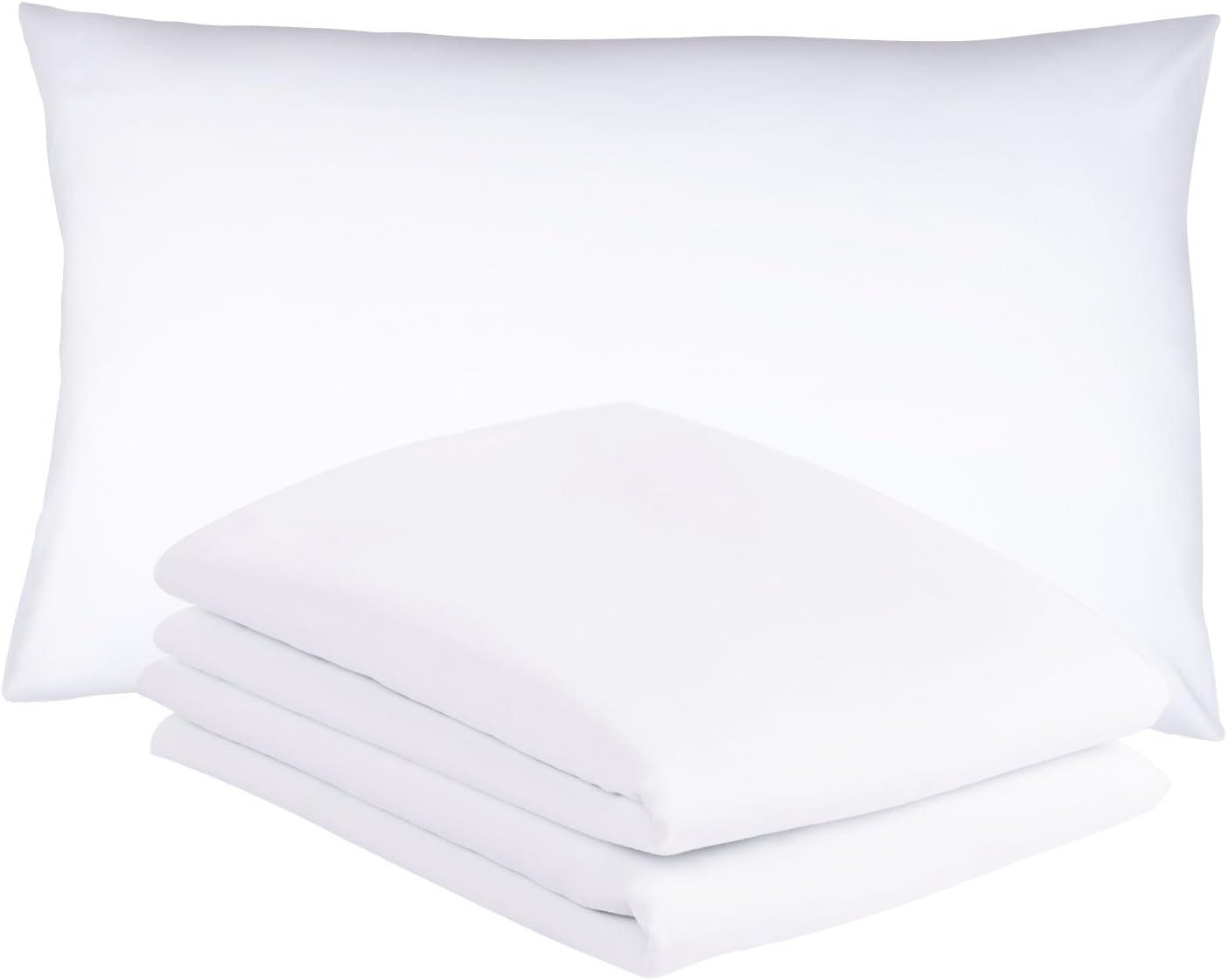Duractron - 2 Fundas de microfibra hipoalergénica para almohada, tamaño Queen (50 x75 cm), blancas, 2 unidades
