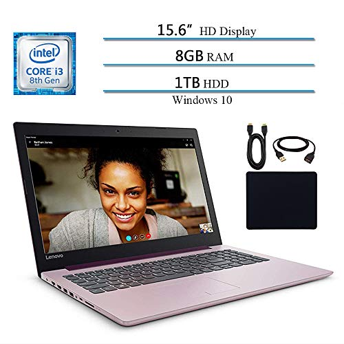 Lenovo Ideapad 330 2019 Newest Premium 15.6' HD Laptop Computer Notebook, Intel Core i3-8130U (Beat i5-7200U), 8GB RAM, 1TB HHD, Intel UHD 620, Win 10, Purple W/ Masdrow 29.9 Value Accessories Bundle