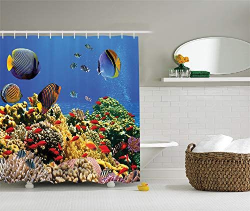 Refresh Reef - Ambesonne Ocean Decor Collection, Submerged Old Coral Colony on a Reef with Exotic Fishes at Tranquil Shallow Egyptian Red Sea Picture, Polyester Fabric Bathroom Shower Curtain, Navy Blue Yellow Green