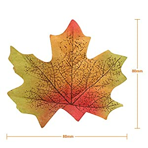 Naler Artificial Maple Leaves, Fall Colored Silk Maple Leaves Autumn Fall Leaves Bulk for Art Scrapbooking, Weddings, Autumn Party, Events and Decorating, 300pcs 3