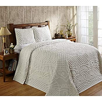 Image of 3 Piece Off White Chenille Geometric Tufted Pattern Bedspread King Set, Elegant High-Class Luxurious Rich Motif Textured Design, Reversible Bedding, Shabby Chic Country Style, Natural Color, Unisex Home and Kitchen