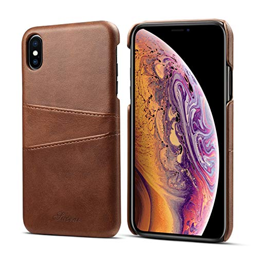 (iPhone XS Max Wallet Case,taStone Lightweight Protective Screen Case with Card/ID Holder Slots Premium PU Leather Slim Phone Case Classic Style for 6.5 Inch iPhone XS Max,Dark Brown)