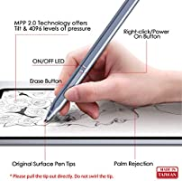 Raphael 520 First D Shape Body 100/% Match Surface Pro X//7//6//5 Magnetic Attachment Quick Charge 4096 Pressure Sensitivity Made in Taiwan Rechargeable RENAISSER Stylus for Surface