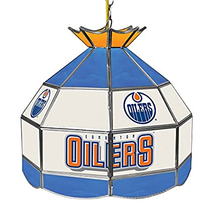 Image of Billiard Lighting Trademark Gameroom NHL Edmonton Oilers 16' Handmade Tiffany Style Lamp