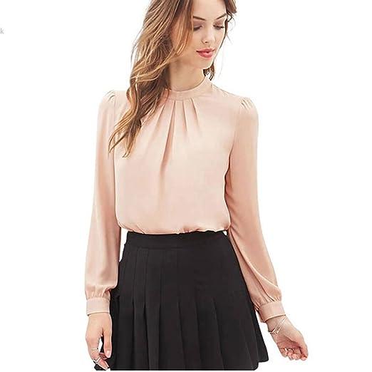 Queenfashion Elegant Women Long Sleeve Casual Chiffon Solid Blouse Shirt Top Pink S