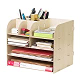 4 Tier File Cabinet Detachable Wooden Grain Office Desk Organizer A4 File Letter Storage Tray Desktop Cabinet Home Office File Storage Box Large Capacity File Collection Book Shelf