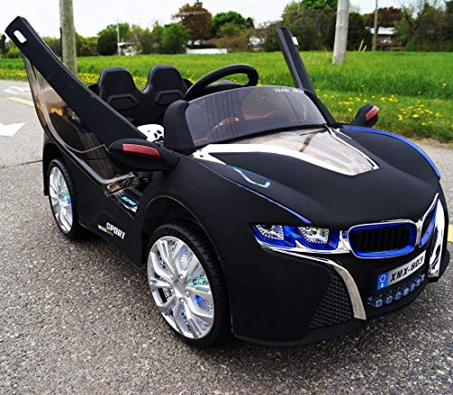 i8 Ride On Toy Power Wheels 12 Volt Battery Powered Vehicles for Kids with Led Headlights, Mp3 Music, Horn, Led Wheels, Openable Doors, 1 Seats, Remote Control with Stop Function - Licensed