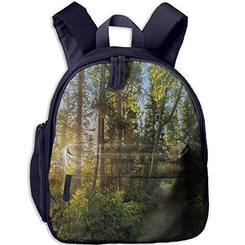 Haixia Youth Boy's&Girl's Backpacks with Pocket Landscape National Park in Cape Breton Highlands Canada Forest Path Trees Tranquility Photo Full Blue (Tan Cape Dory Cape)