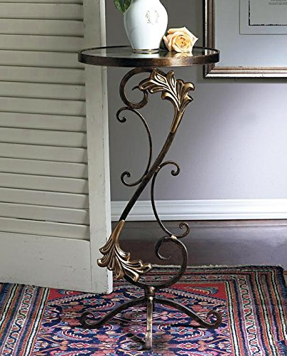 Tables - Florentine Garden Round Glass Top Table - Bronze Iron Metal Table with Brass Medallions