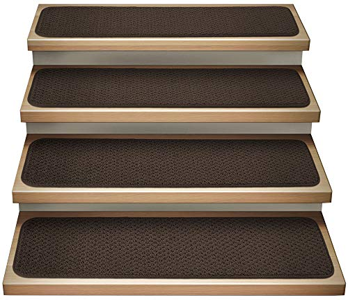 House, Home and More Set of 15 Attachable Indoor Carpet Stair Treads - Chocolate Brown - 8 in. X 30 in. - Several Other Sizes to Choose from