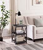 #10: Grey Finish Metal X-Design Chair Side End Table Nightstand with 3-tier Shelf